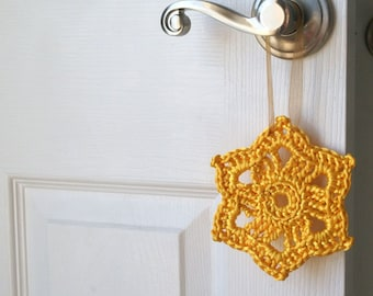 FREE SHIPPING Crochet Ornament in Yellow Satin Cord