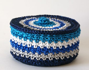 Satin Cord Crochet Basket in Navy Silver White Royal Blue and Turquoise