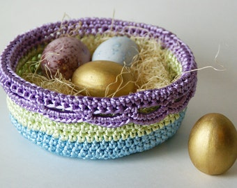 Satin Cord Crocheted Basket in Blue Mint and Lavender