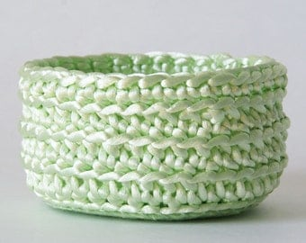 Small Mint Crochet Basket in Satin Cord