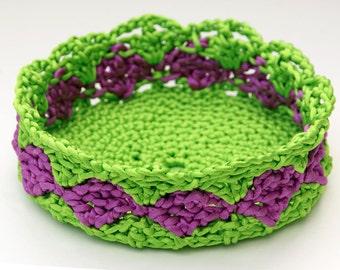 Satin Cord Crochet Basket in Apple Green and Purple