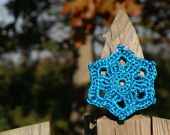 FREE SHIPPING Crochet Ornament in Turquoise Satin Cord