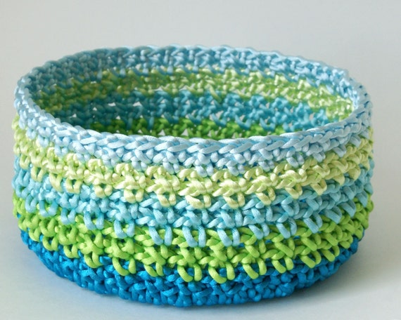 Crocheted Basket in Turquoise Lime Aqua Mint and Light Blue Satin Cord