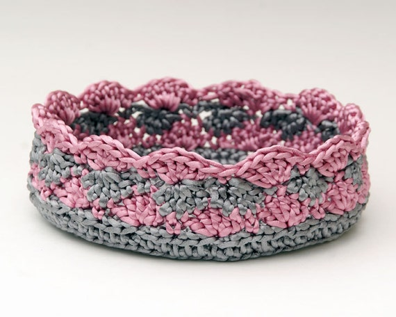Crochet Basket in Silver and Rose Pink Satin Cord