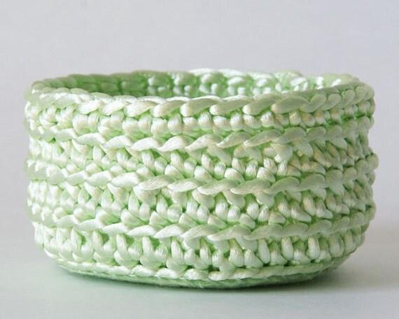 Small Mint Crochet Basket in Satin Cord