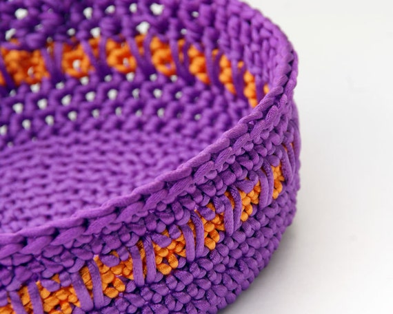 Purple and Orange Satin Cord Crochet Basket