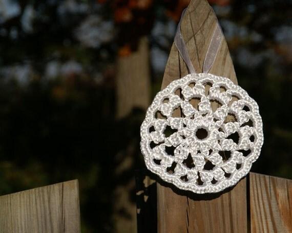 FREE SHIPPING Crochet Ornament in White Satin Cord