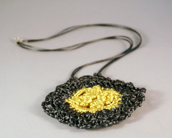 Crocheted Necklace in Yellow and Gray Satin Cord 'Lynne'