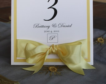 Elegant Pollen Yellow and White Standing Table Numbers
