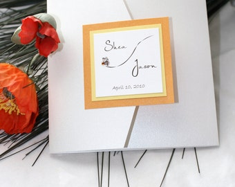 Spring Flutter Yellow and Orange Wedding Invitation