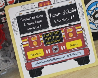 Yellow and Red Fire Engine Birthday Party Invitations -Deposit