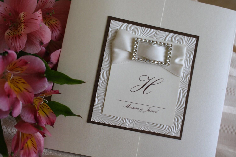 Ivory Wedding Invitation Kits: Silky Ivory And Chocolate Brown Square Pocketfold Wedding