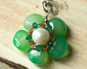 Pendant Necklace Briolette And Emeralds
