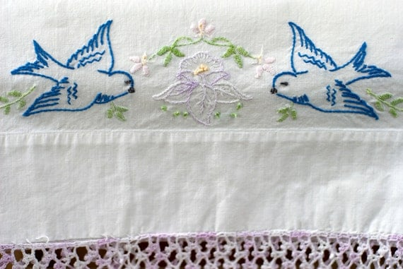 Vintage Embroidered Pillowcases With Birds