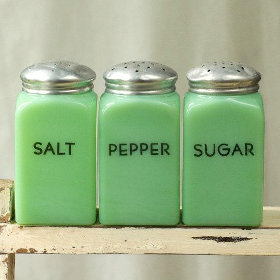 Vintage Jadite or Jadeite Salt Pepper Sugar Shakers