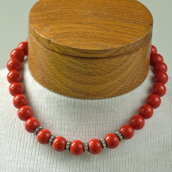 Reserved for Ulli - Child's Red Plastic Beaded Rhinestone Necklace Vintage