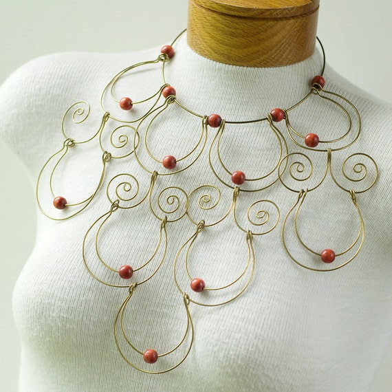 Brass Wire Necklace Wooden Beads Vintage