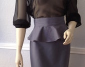 Grey Peplum Pencil Skirt