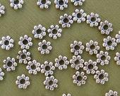 Tibetan Silver Spacer Beads,  Snowflake, Daisy Antique Silver-100pcs.