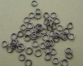 200pcs-Jumprings, Gun Metal Plated Over Brass  Heavy Strong, OD-4mm, 21ga.
