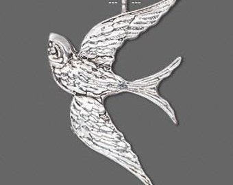 4pcs-Swallow,  antiqued silver-plated pewter, 39x26mm.