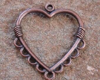 6pcs-Drop, antiqued copper pewter, 26x26mm heart.