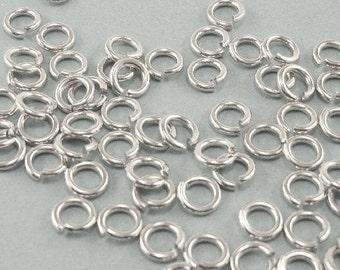 100pcs-Jump Rings, Rhodium Plated, OD- 5mm, 18ga.