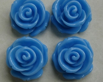 4pcs-Rose Flower Cabochon, Turquoise, Resin, D-23mm, H-13mm.