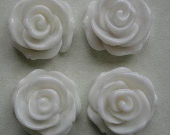4pcs-Rose Flower Cabochon, White, Resin, D-23mm, H-13mm.