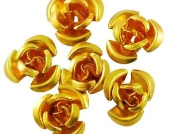50pcs-Aluminum Flower Beads, Golden, (12x7)mm, hole-1mm.