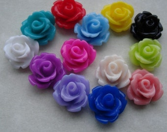 52pcs-Rose Flower Cabochon,Resin, 10mm.