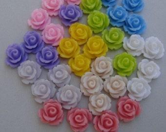 36pcs-Rose Flower Cabochon,Resin, 10mm.