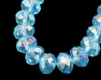 8inch-Syan Quartz Glass Faceted Rondelle Beads...10mmx7mm.