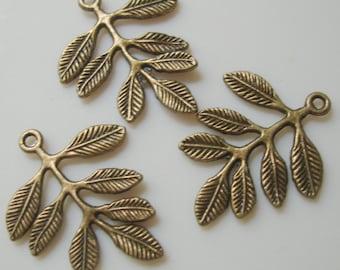 Leaf Branch Antique Bronze Pendant-10pcs.