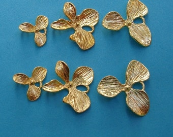 2 Pcs - Triple Orchid Flower Charm Gold Plated.