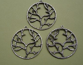 Tree Of Life Antique Silver Pendant Double Sided 40mm-3pcs.