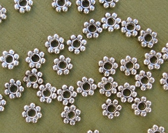 Tibetan Silver Spacer Beads,  Snowflake, Daisy Antique Silver-100pcs.