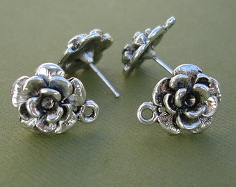 Flower Earring Post Sterling Silver Plated Antique Silver-10pcs.