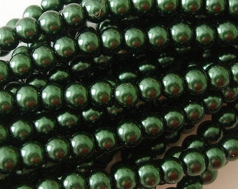 Pearl Bead, Glass,Dark Green, 4mm, Strand- 32inch.