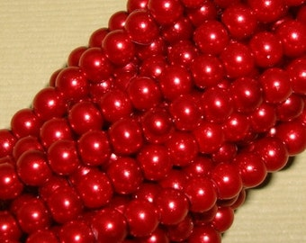 Pearl Bead, Glass,Dark Red, 4mm, Strand- 32inch.