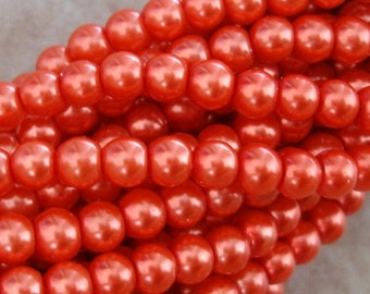 Pearl Bead, Glass,Coral, 4mm, Strand- 32inch.