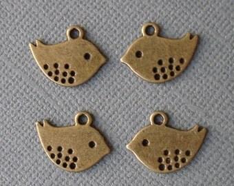20pcs- Antique Bronze Sparrow Bird Charm, Pendant.Double Side.