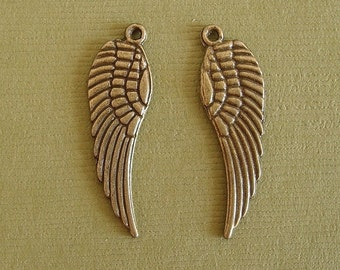 Wing  Feather Antique Bronze Charm Pendant  Double Sided 9x30mm-10pcs.