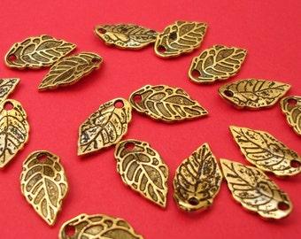 20pcs-Pendant, Charm, Leaf, Antique Gold (16x8)mm.