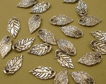 20pcs-Pendant, Charm, Leaf, Antique Silver (16x8)mm.