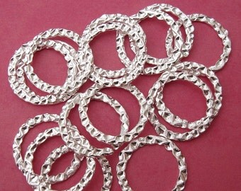 Connectors Links, Ring,  Hamered Silver Plated Open- 22mm-20pcs.