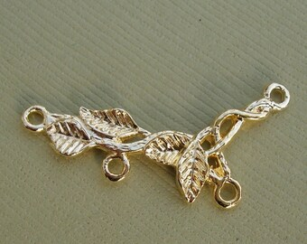 Branch Leaf Connector Link Charm Gold Plated Over Brass-2pcs.