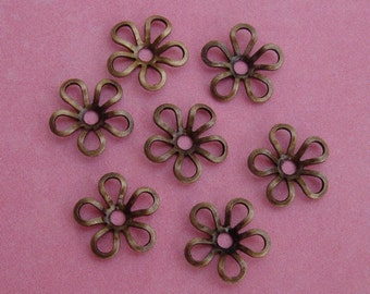 50pcs-Antiqued Brass Flower Bead Cap- 9mm.