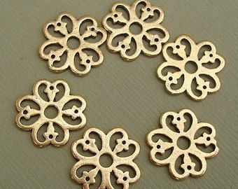 20pcs-Pendant, Charm Connector Flower  Antique Gold 15mm.