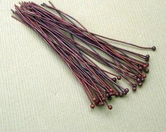 100pcs- Copper Ball Headpins  2inch.